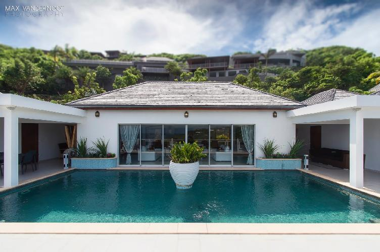 cool poolside of Saint Barth Villa Bellevue luxury holiday home, vacation rental