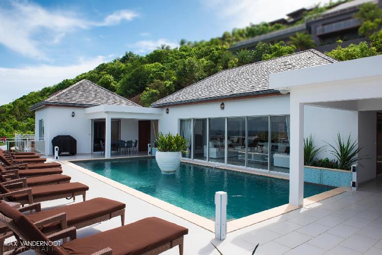 cool pool deck of Saint Barth Villa Bellevue luxury holiday home, vacation rental