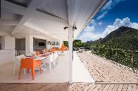 cool balcony of Saint Barth Villa Mapou luxury holiday home, vacation rental
