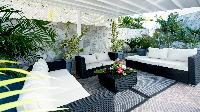 cool canopied patio of Saint Barth Villa Panorama luxury holiday home, vacation rental