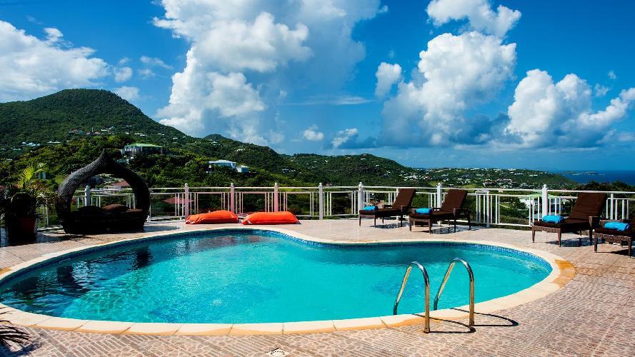 cool swimming pool of Saint Barth Villa Rising Sun holiday home, luxury vacation rental