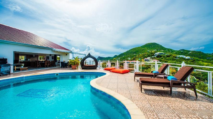 cool poolside of Saint Barth Villa Rising Sun holiday home, luxury vacation rental