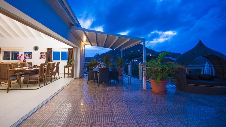 cool lanai of Saint Barth Villa Rising Sun holiday home, luxury vacation rental