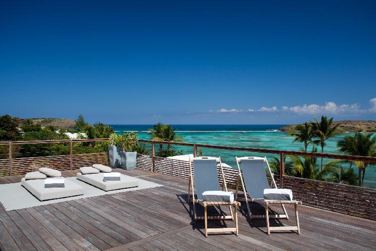 cool poolside of Saint Barth Villa Sereno 3 luxury holiday home, vacation rental
