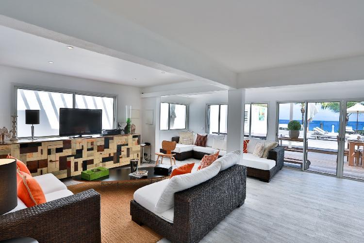 cool living room of Saint Barth Luxury Villa Ganesha holiday home, vacation rental