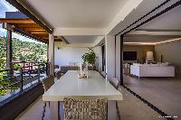 beautiful dining area in Saint Barth Villa Wahoo luxury holiday home, vacation rental