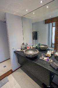 clean toilet and bath in Saint Barth Luxury Villa Eugenie holiday home, vacation rental