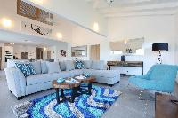 pleasant living room of Saint Barth Villa Wild Blue luxury holiday home, vacation rental
