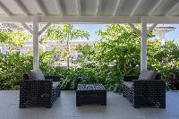 cool patio and garden of Saint Barth Villa Wild Blue luxury holiday home, vacation rental