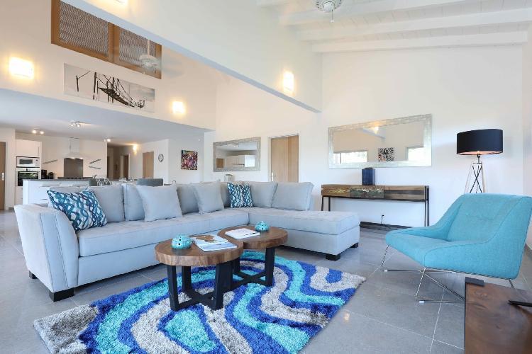 pleasant living room of Saint Barth Villa Wild Blue luxury holiday home, vacation rental