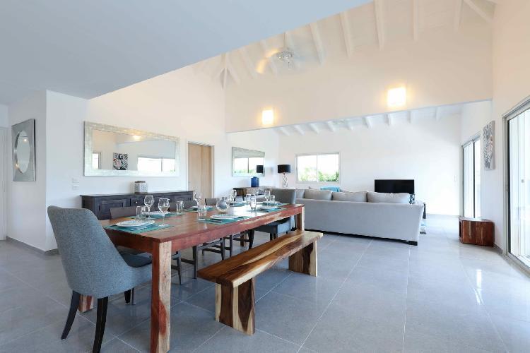 pleasant dining room of Saint Barth Villa Wild Blue luxury holiday home, vacation rental