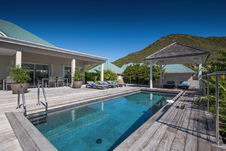 awesome swimming pool of Saint Barth Villa Wild Blue luxury holiday home, vacation rental