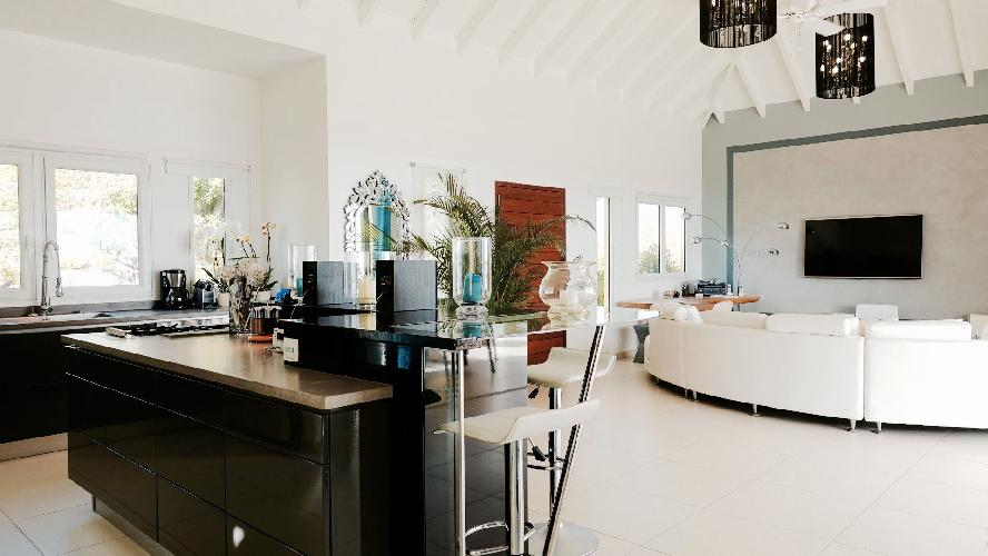 cool living room of Saint Barth Villa Dasha luxury holiday home, vacation rental