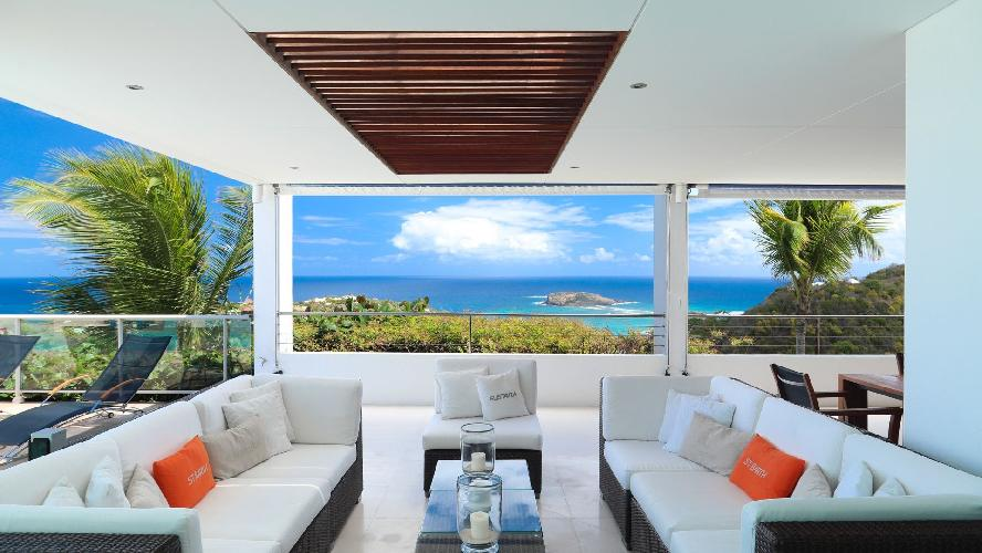 cool lanai of Saint Barth Luxury Villa Eclipse holiday home, vacation rental