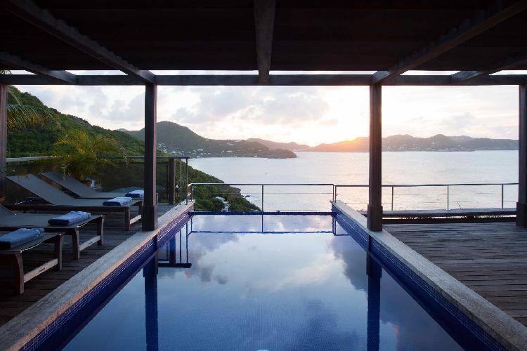 cool swimming pool of Saint Barth Villa Samsara luxury holiday home, vacation rental