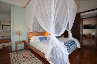 fresh bedroom linens in Saint Barth Luxury Villa Amancaya Estate vacation rental