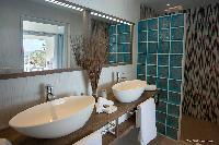 clean toilet and bath in Saint Barth Villa Cacao luxury home, vacation rental
