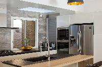 modern kitchen of Saint Barth Villa Cacao luxury home, vacation rental