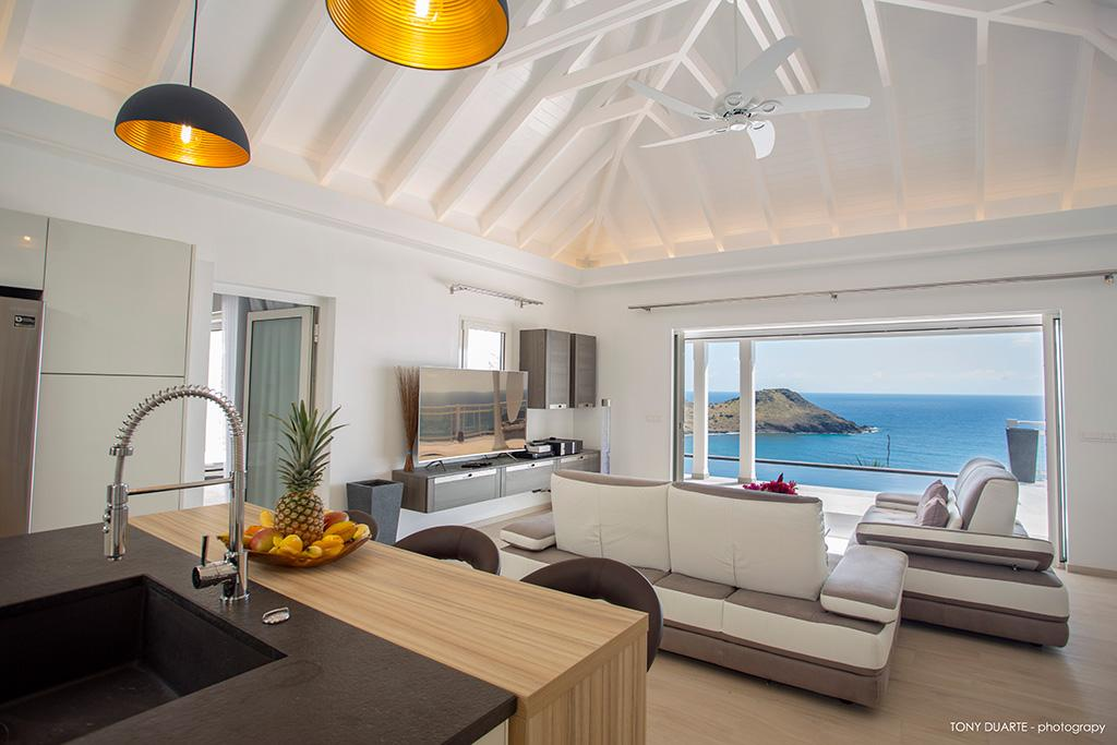 cool sea view from the balcony of Saint Barth Villa Cacao luxury home, vacation rental