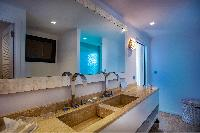 swanky bathroom in Saint Barth Villa Aqua luxury holiday home, vacation rental