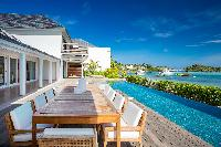 cool alfresco dinners at Saint Barth Villa Bleu luxury holiday home, vacation rental
