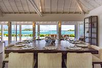 cool dining room of Saint Barth Villa Bleu luxury holiday home, vacation rental