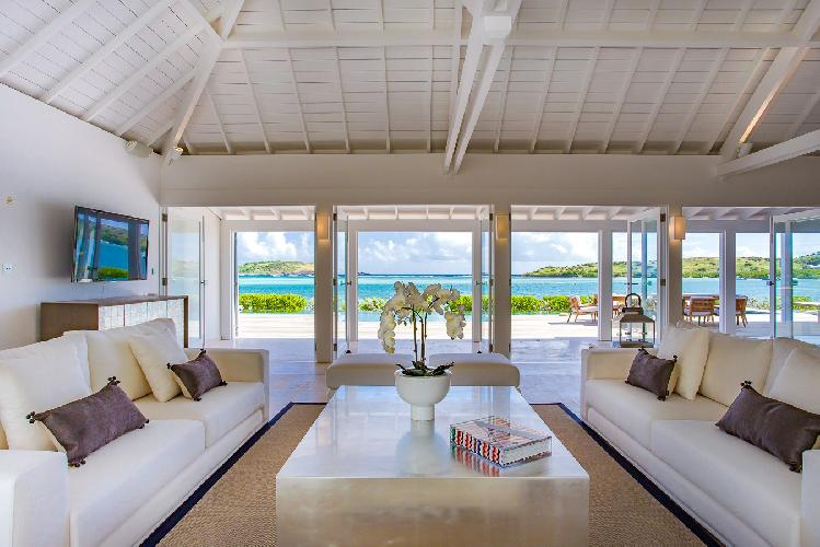cool living room of Saint Barth Villa Bleu luxury holiday home, vacation rental