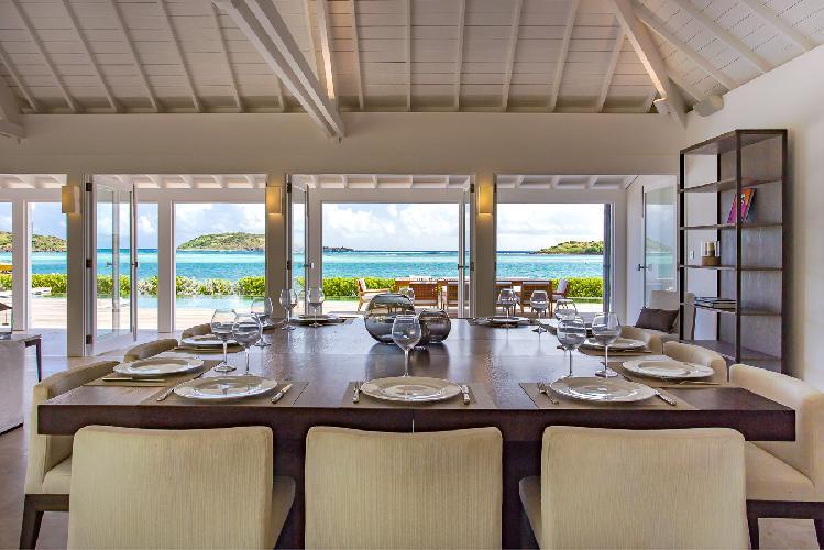 cool dining room of Saint Barth Villa Bleu luxury holiday home, vacation rental
