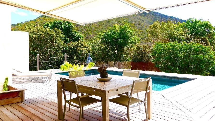 cool poolside lanai of Saint Barth Villa Petit Paradis luxury holiday home, vacation rental