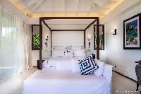 fresh bedroom linens in Saint Barth Luxury Villa Blanc Bleu holiday home, vacation rental