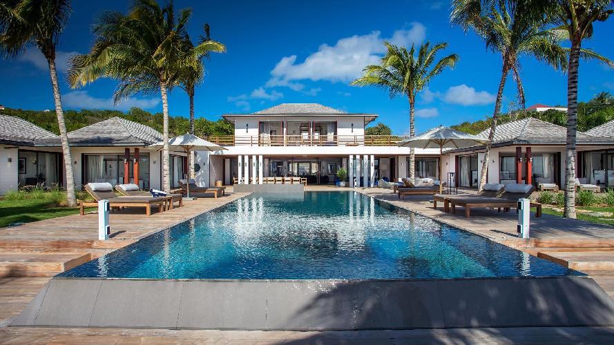 cool swimming pool of Saint Barth Luxury Villa Blanc Bleu holiday home, vacation rental