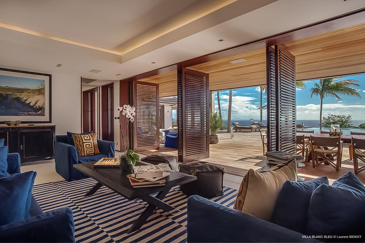 fully furnished Saint Barth Luxury Villa Blanc Bleu holiday home, vacation rental