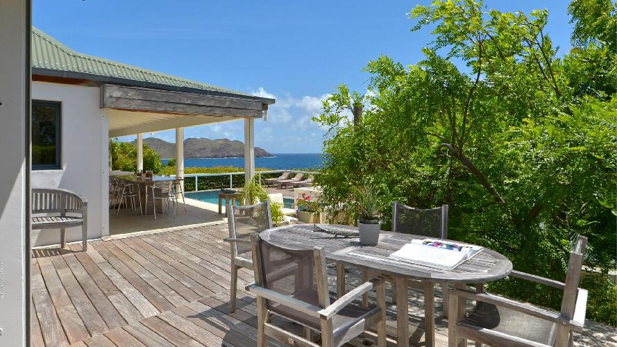 cool terrace of Saint Barth Villa Jali luxury holiday home, vacation rental