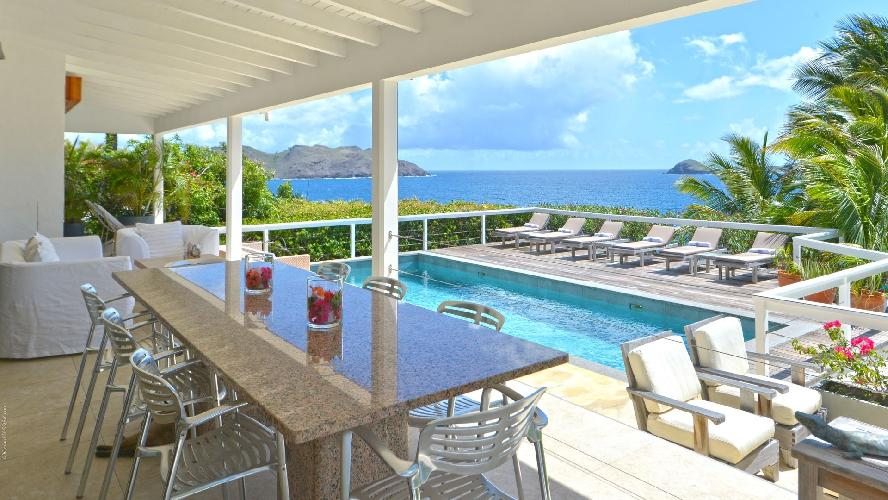 cool swimming pool of Saint Barth Villa Jali luxury holiday home, vacation rental