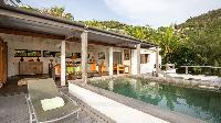 cool poolside lanai of Saint Barth Villa Phoenix holiday home, luxury vacation rental