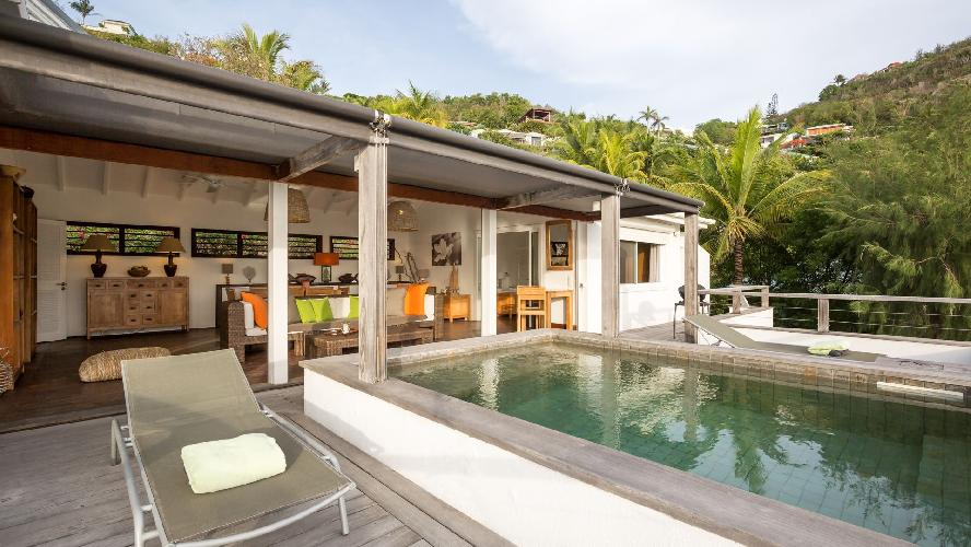 cool poolside lanai of Saint Barth Villa Phoenix holiday home, luxury vacation rental