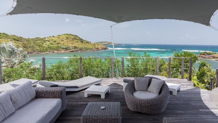 incredible patio and deck of Saint Barth Villa Indian Song luxury holiday home, vacation rental