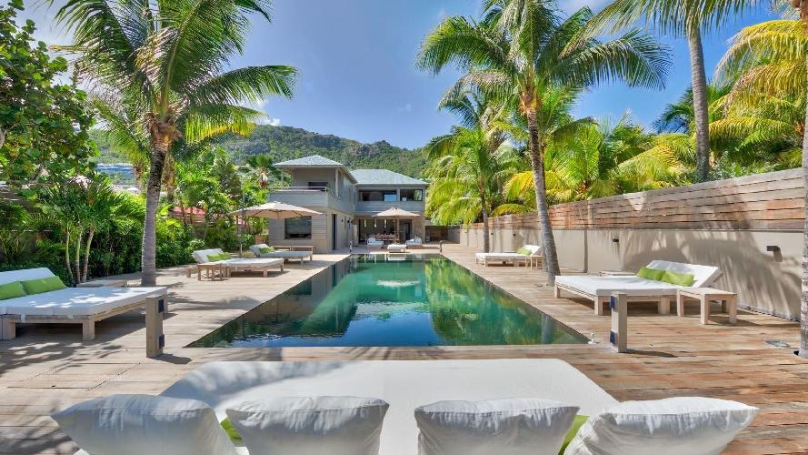 cool poolside of Saint Barth Villa K luxury holiday home, vacation rental
