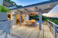 pretty patio and deck of Saint Barth Villa Datcha Estate luxury holiday home, vacation rental