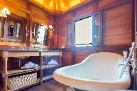 cool freestanding bathtub in Saint Barth Villa Lama Estate luxury holiday home, vacation rental