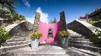 cool courtyard of Saint Barth Villa Silver Rainbow luxury holiday home, vacation rental