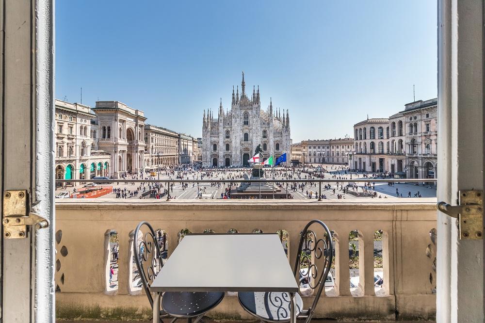 awesome balcony of Milan - Duomo Split Level luxury apartment