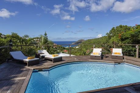 cool swimming pool of Saint Barth Villa Joe luxury holiday home, vacation rental