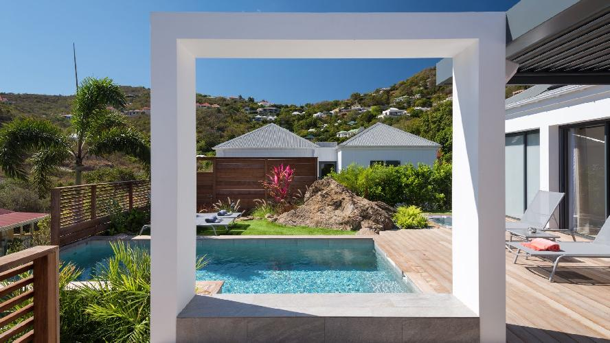 cool swimming pool of Saint Barth Villa Rockfish luxury holiday home, vacation rental