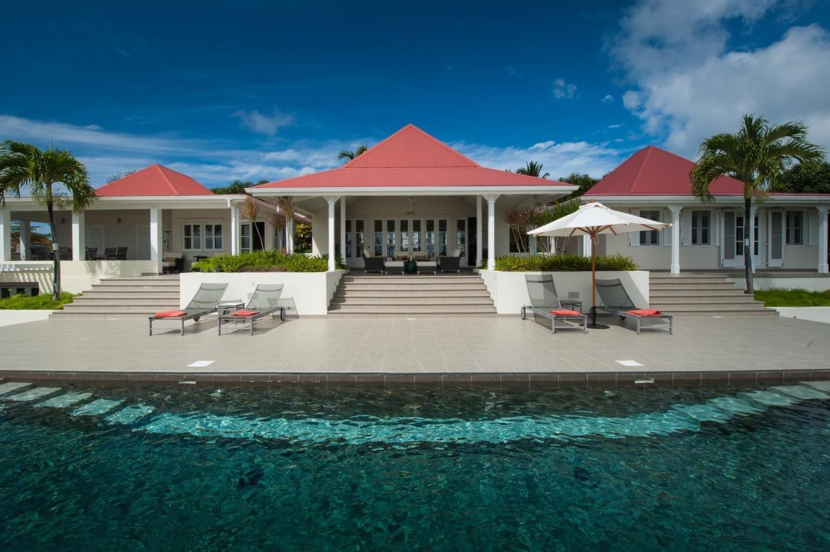 cool swimming pool of Saint Barth Villa Belle Bague luxury holiday home, vacation rental