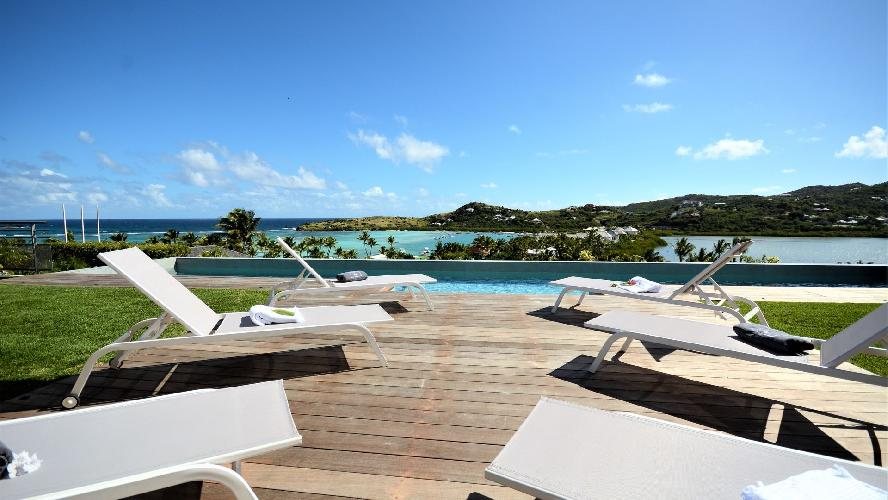 cool poolside of Saint Barth Villa Flora luxury holiday home, vacation rental