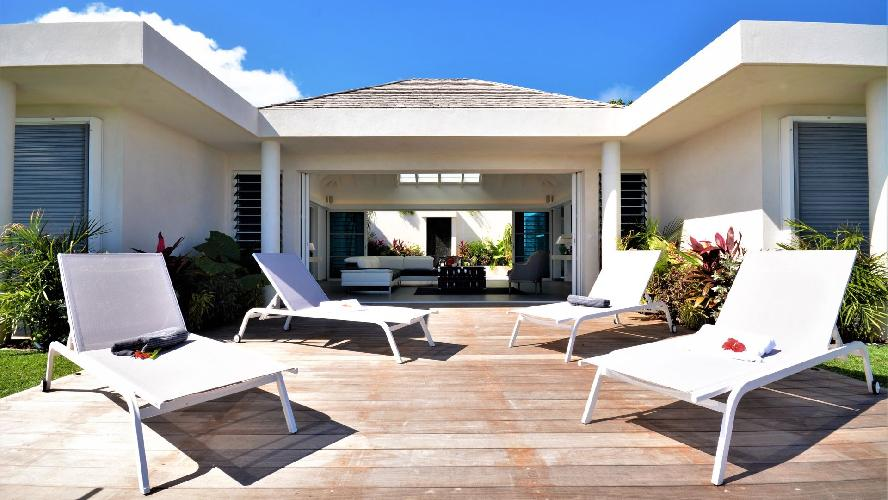 cool sun loungers at Saint Barth Villa Flora luxury holiday home, vacation rental