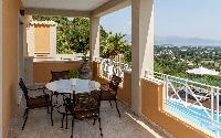 neat patio of Corfu Villa Stephandra luxury holiday home, vacation rental