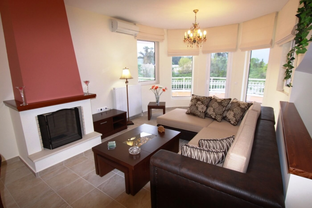cozy living room of Corfu Villa Rosa 1 luxury holiday home, vacation rental