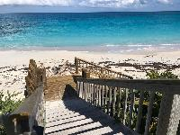 amazing private beach entrance at Bahamas - Sand Castle Exuma luxury apartment